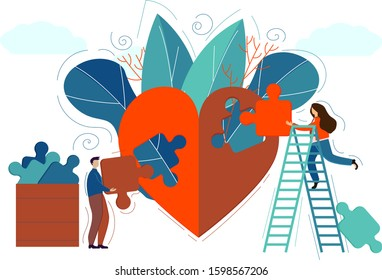 People create a puzzle heart for the Valentine's day. Valentine card, poster, congratulation for 14 february. Love concept. Heart flat icon. Template for banner. Vector illustration flat style.