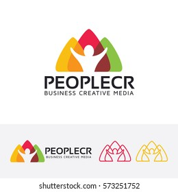 People Creative, creative, community, forum, people, art, social, group. Vector logo template