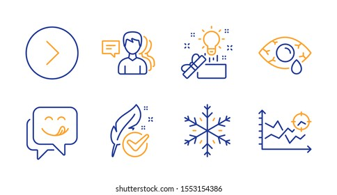 People, Creative idea and Forward line icons set. Yummy smile, Snowflake and Hypoallergenic tested signs. Ð¡onjunctivitis eye, Seo analysis symbols. Support job, Present box. Business set. Vector