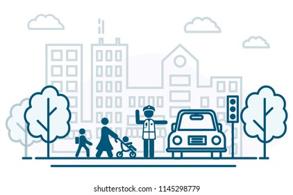 People cross the road. Traffic rules. Police officer help people cross the road