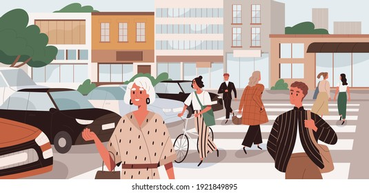 People crossing road at uncontrolled pedestrian crosswalk. Citizens walking the street in city. Busy traffic in megalopolis. Colored flat cartoon vector illustration of modern cityscape
