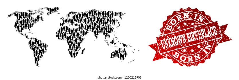 People crowd composition of black population map of world and corroded seal. Vector red watermark with corroded rubber texture has Born In text. Mosaic map of world constructed with standing persons.