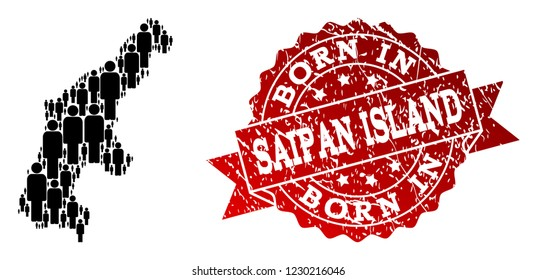 People crowd composition of black population map of Saipan Island and rubber stamp. Vector red seal with scratched rubber texture has Born In text.