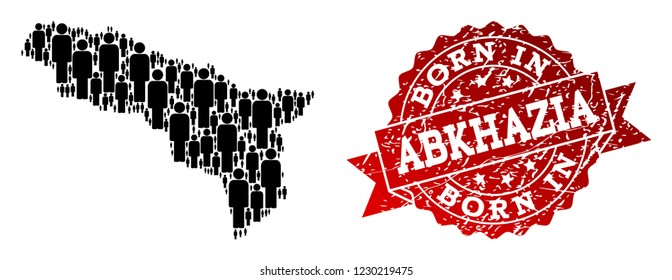 People crowd composition of black population map of Abkhazia and grunge seal. Vector red seal with grunge rubber texture has Born In text. Mosaic map of Abkhazia designed with standing persons.