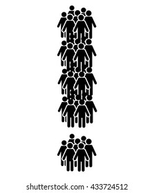 People crowd exclamation mark vector template