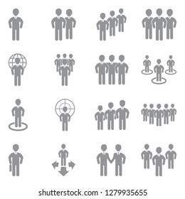 People And Crowd Icons. Gray Flat Design. Vector Illustration.