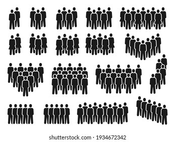 People crowd icons. Group of persons gathering, men and women silhouette. Employee team, citizen or social community pictograms vector set