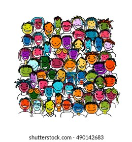 People crowd international, sketch for your design. Vector illustration