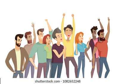 People crowd and pastime, humans raising hands up, demonstration throng, men women shouting smiling having fun, vector illustration on white background