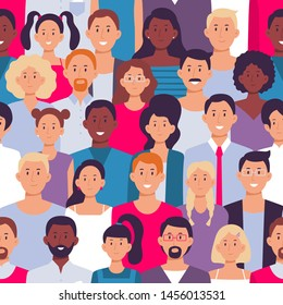 People crowd pattern. Young multiethnic men and women, people group. Multicultural togetherness unity or african, european and asian humans friends together seamless vector illustration
