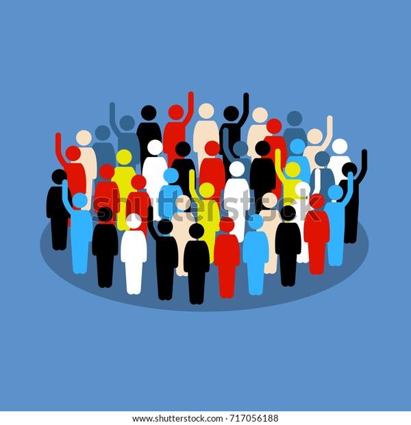 Menschen in der Menge, die Hand heben, um Unterstützung zu zeigen und zu wählen. Vektorgrafiken zeigen Gesellschaft, ethnische Zugehörigkeit, Demokratie und öffentliche Wahlen.