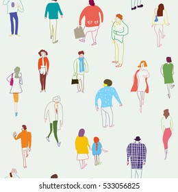 People and crowd seamless  pattern - vector graphic illustration