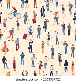 People crowd. seamless  vector background  mock up. Men and women, various professions and styles, people diversity presentation, web site, banner template.