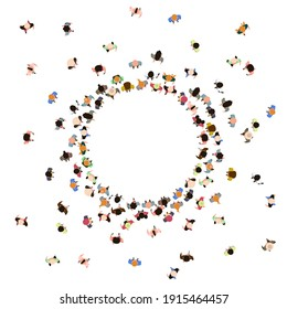 People crowd top view. Walking male and female characters, gathering human community. Social people group top view vector illustration. Crowd man and woman group top walking in round