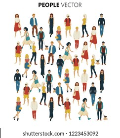 People crowd vevtor. Cartoon style illustration of young men and woman. Street style casual fashion isolated on white background.
