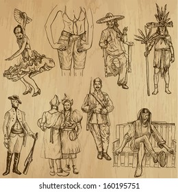 People and customs around the World (set no.11). Collection of hand drawn illustrations (originals, no tracing). Each drawing comprises of two layers of outlines,the colored background is isolated.