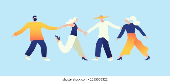 People dance together. Social connections, communication, business. Template for website and web page. Flat Vector Illustration