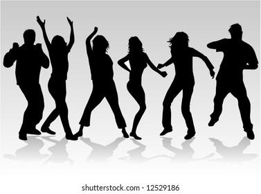 People dancing 2, Silhouettes of people dancing