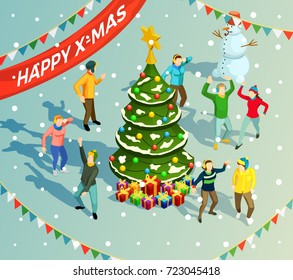 People dancing around christmas tree at new year holiday party 3d isometric vector illustration