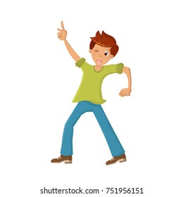 People dancing character in different poses. Boy, teenager, dancing, raising his hand up, having fun, showing tongue and winking, under music. Cartoon vector illustration isolated