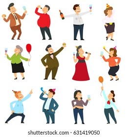 people are dancing, having fun and drinking alcohol at a party. vector illustration.