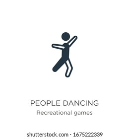 People dancing icon vector. Trendy flat people dancing icon from recreational games collection isolated on white background. Vector illustration can be used for web and mobile graphic design, logo,