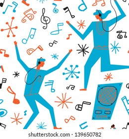 people dancing to the music vector seamless background