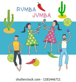 People dancing rumba. Vector illustration of men and women who dance cheerful Latin American dances.
