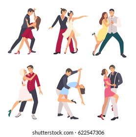 People dancing salsa. Couples, man and woman in dance, in different postures. Colorful flat illustration set.