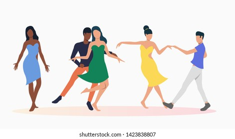 People dancing salsa. Leisure, fun, nightlife concept. Vector illustration can be used for topics like entertainment, dance school, salsa party