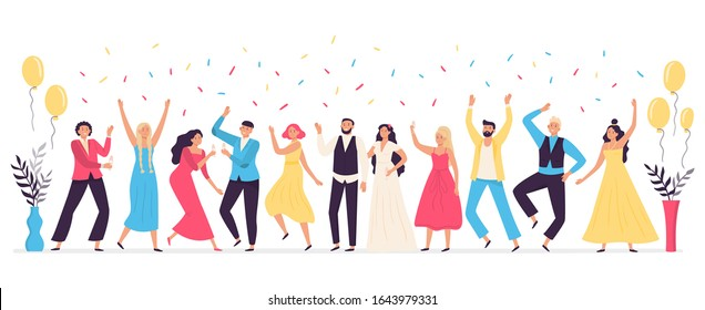 People dancing at wedding. Romance newlywed dance, traditional wedding celebration celebrating with friends and family vector illustration. Cute happy bride, groom and guests having fun at party.
