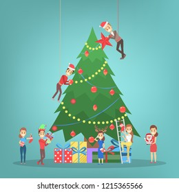 People decorating big christmas tree. Happy characters preparing for new year celebration. Guys holding gift and drinking champagne. Flat vector illustration