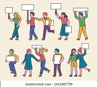 People demonstrating with message boards and pickets. Social movement concept. flat design style minimal vector illustration