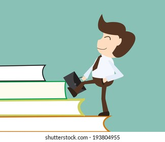 People development concept - Businessman acquires knowledge over a ladder made of books