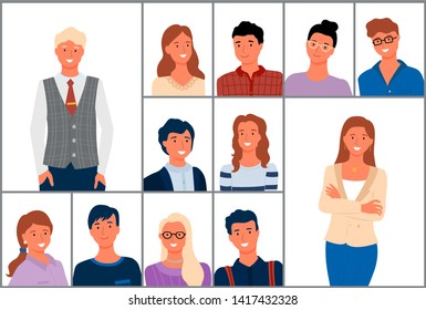 People of different age and clothing style vector, male wearing glasses casually dressed woman, old senior person wearing vest, lady with earrings necklace