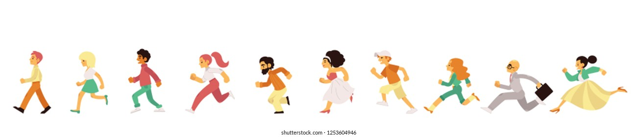 People of different age and gender in casual clothing running in flat style isolated on white background. Side view of happy hurrying men and women moving forward quickly in vector illustration.