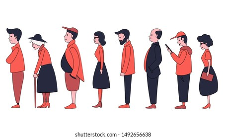 People of different ages and gender stand in line one after another. Flat style characters. Men and women are standing.