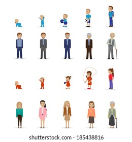 People Of Different Ages - Isolated On White Background - Vector Illustration, Graphic Design Editable For Your Design