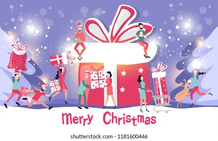 People from different cities of the planet are preparing to meet the holiday of Christmas and New year. Buy Christmas gifts, make purchases on the Internet, surprises to relatives. Vector illustration
