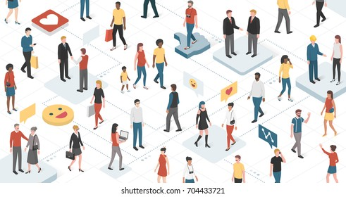 People from different ethnic groups, culture and ages connecting together: communication, technology and social networks concept