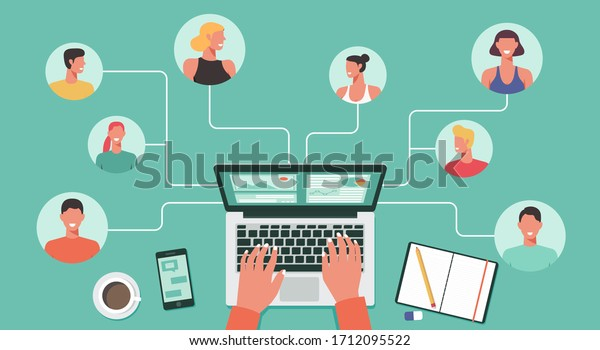 people with different and expert skills connecting and working online together on laptop computer, remote working, work from home and work from anywhere concept, flat vector illustration