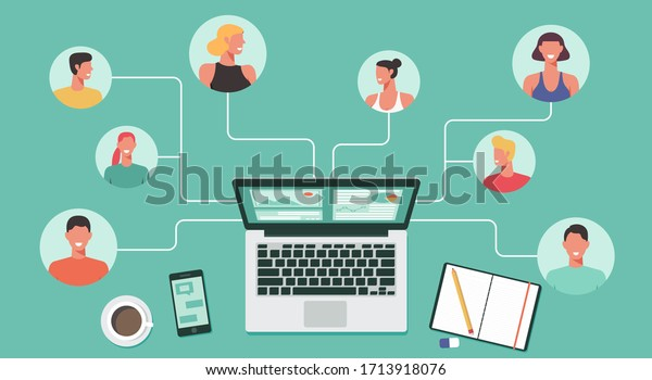 people with different and expert skills connecting and working online together on laptop computer, work from home, remote working and work from anywhere concept, flat vector illustration