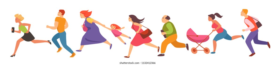people of different gender and age run set. flat vector illustration.