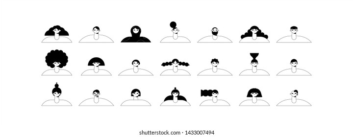 People with different hairstyles. Vector illustration flat design. Use in web projects and applications.