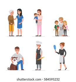 People of different home care and assistance services. Vector illustration.