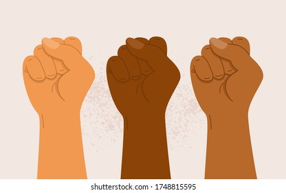 People of different nationalities and races raise up fists. Protest, stop racism, equality concept. Fight for your rights. Black lives matter. Human hands with clenched fists. Flat vector illustration