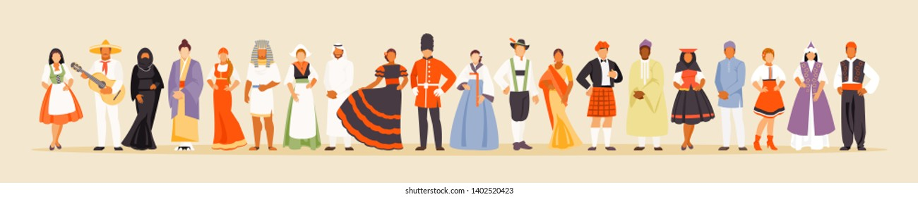 People of different nationalities in traditional costumes. The concept of multiculturalism. Vector illustration