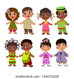 people of different nationalities in traditional dress .vektor set.Cartoon children in traditional dress. Isolated on white background.