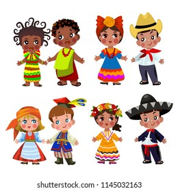 people of different nationalities in traditional dress .vector set. Cartoon children in traditional dress. Isolated on white background.