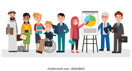 People of different nationalities, young and old, with disabilities, male and female involved in business project isolated vector illustration.